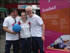 Great Britain goalball team members Simon, Georgie and Adam