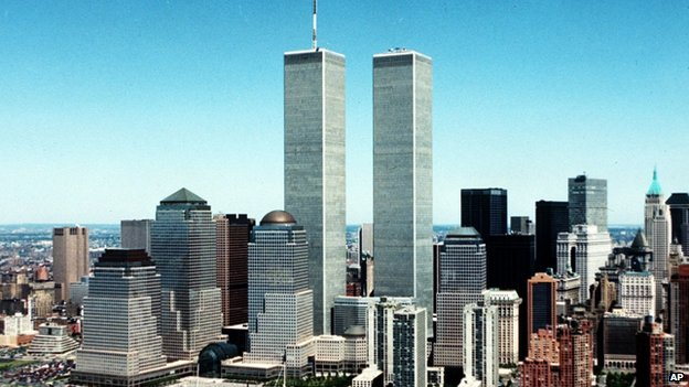 A photo of the New York City skyline from 1990, with the twin towers of the World Trade Center in the middle