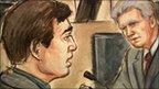 Court sketch of Andy Burnham (left) and Tom Kark QC