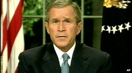 Former president George W Bush addressing the nation from the Oval Office at the White House, after the terrorist attacks on the Pentagon and the World Trade Center