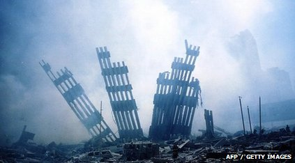 Rubble from the collapse of the World Trade Center twin towers