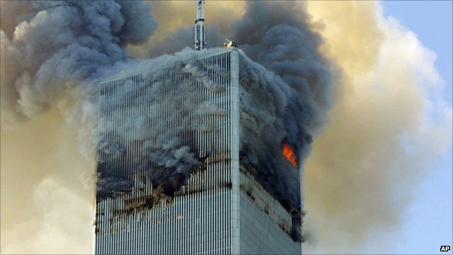Fire and smoke billows from the north tower of New York's World Trade Center on 9/11