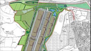 Drawing of the proposed Inland Port development in Doncaster