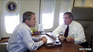 President Bush and Andy Card on Air Force One