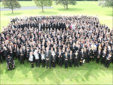 Stretford whole school photo with School Report lanywards