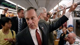 New York Mayor Michael Bloomberg in the subway