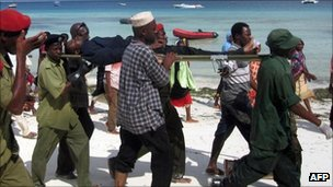 Man rescued from Zanzibar ferry sinking (10 September 2011)