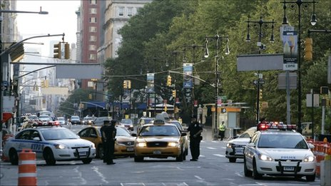 Police man a checkpoint on Broadway Avenue in New York September 10, 2011, a day before the 10th anniversary of the 9/11 attacks on the World Trade Center.