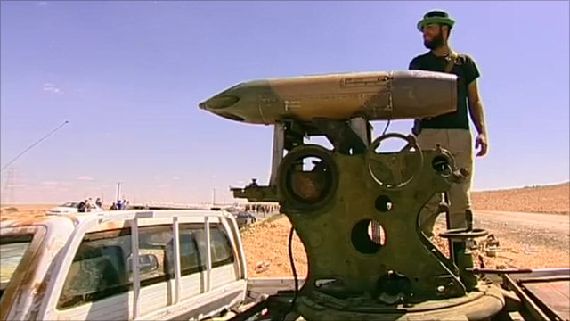 Rocket launcher mounted on back of truck