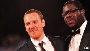 Michael Fassbender with Shame director Steve McQueen at the Venice Film Festival