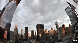 Ground Zero memorial in New York on 10 September 2011