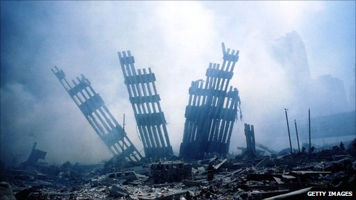 Rubble after the attack on 11 September 2001