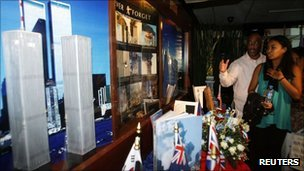 A 9/11 display in Manila, Philippines