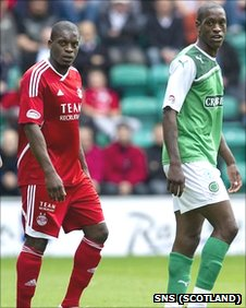 Aberdeen's Isaac Osbourne and his brother Isaiah of Hibs