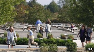Families visiting the Pentagon Memorial