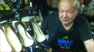 Minas Polychronakis in his shoe shop