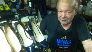 Minas Polychronakis in his shoe shop