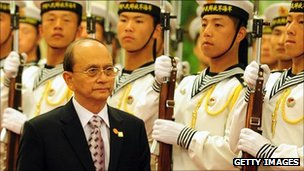Burmese president Thein Sein, seen here inspecting a military honour guard on a visit to China 