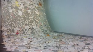 Elena Del Rivero's art exhibit of office papers from the World Trade Center