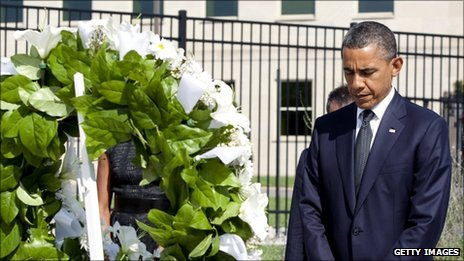 Barack Obama lays a wreath at a memorial service at the Pentagon - 11 September 2011