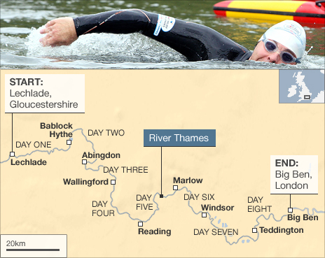 Map showing route of Walliams' Thames swim