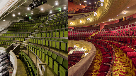 Theatre Royal before and after restoration. Pictures by Sally Ann Norman and Rory Gibson