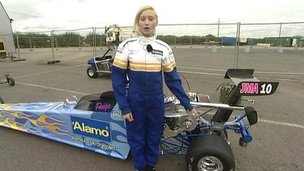 Paige and her dragster
