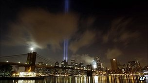 Tribute of Light over the Manhattan skyline on the evening of Sunday 11 September 2011