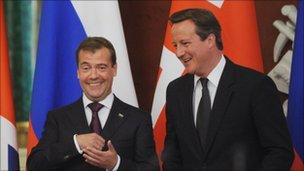 Dmitri Medvedev and David Cameron