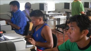 Students studying in the computer room at Venezuela's indigenous university