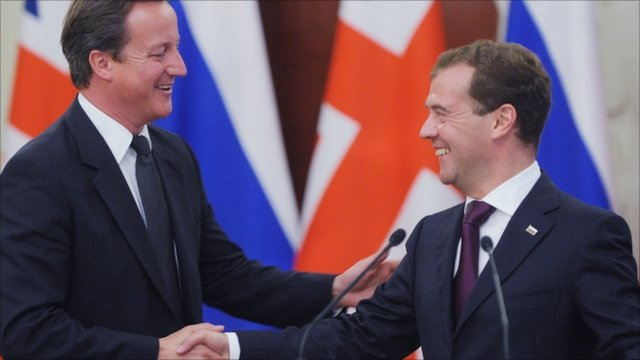 PM David Cameron and Russian President Dmitry Medvedev