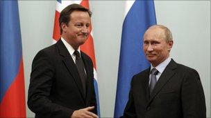 David Cameron and Vladmir Putin