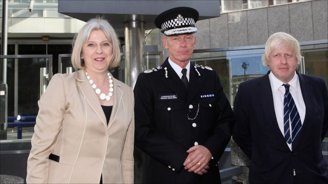 Theresa May (L), Bernard Hogan-Howe (C), Boris Johnson (R)