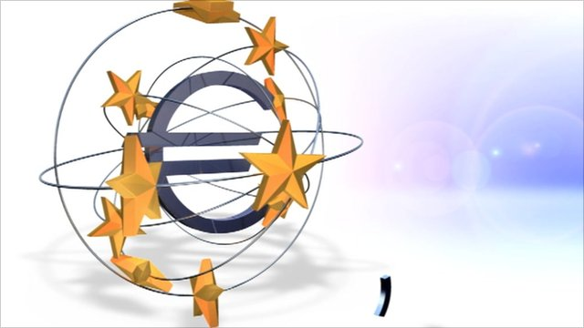 The euro symbol surrounded by EU stars