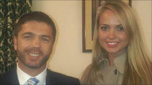 A bearded Stephen Crabb and Miss England, Alize Mounter, who is Welsh