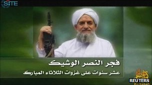 Ayman al-Zawahiri in a still from the al-Qaeda video
