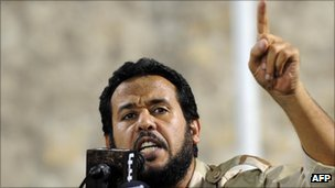Libyan Tripoli military commander Abdel Hakim Belhaj addresses a rally in Tripoli on September 9