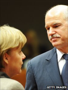 German Chancellor Angela Merkel (left) and Greek Prime Minister George Papandreou