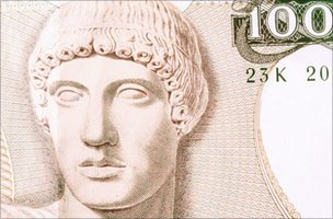 One hundred drachma note in close-up