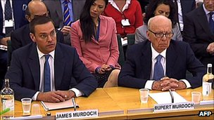 James Murdoch and Rupert Murdoch give evidence before a parliamentary committee
