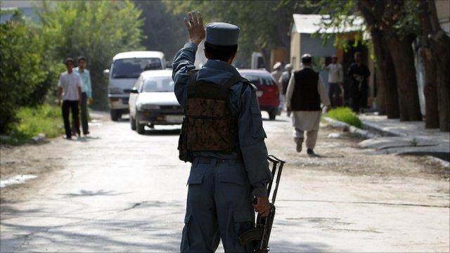 Afghan policeman in Kabul