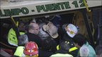 Wreckage of train and bus crash in Buenos Aires