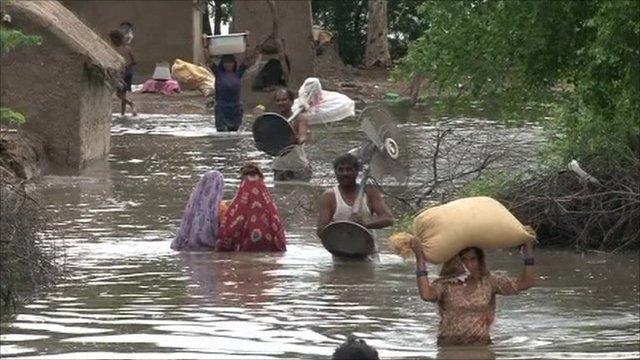 Flooded village in Pakistan