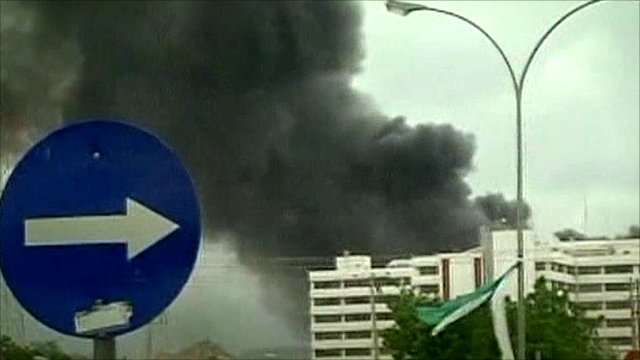 A big pile of black smoke coming from UN headquarters in Nigeria&#039;s capital