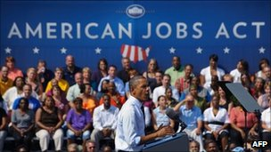 US President Barack Obama speaks to a crowd in Ohio to sell the American Jobs Act to voters