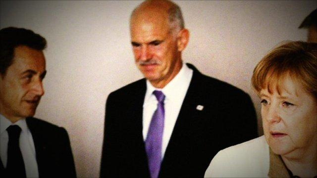 Greek Prime Minister George Papandreou, German Chancellor Angela Merkel and French President Nicolas Sarkozy