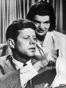 "A photo dated 1950""s shows John F. Kennedy with his wife Jacqueline Bouvier Kennedy"