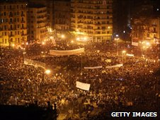 Anti-government protesters in Tahrir Square