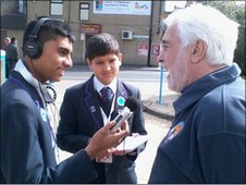 The students interview the Festival's Education Programme Director, Dave Rowley