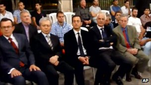 YouTube grab purporting to show US ambassador Robert Ford (front right) and other diplomats attending mourning for Ghiyath Matar, Damascus, 13 September 2011